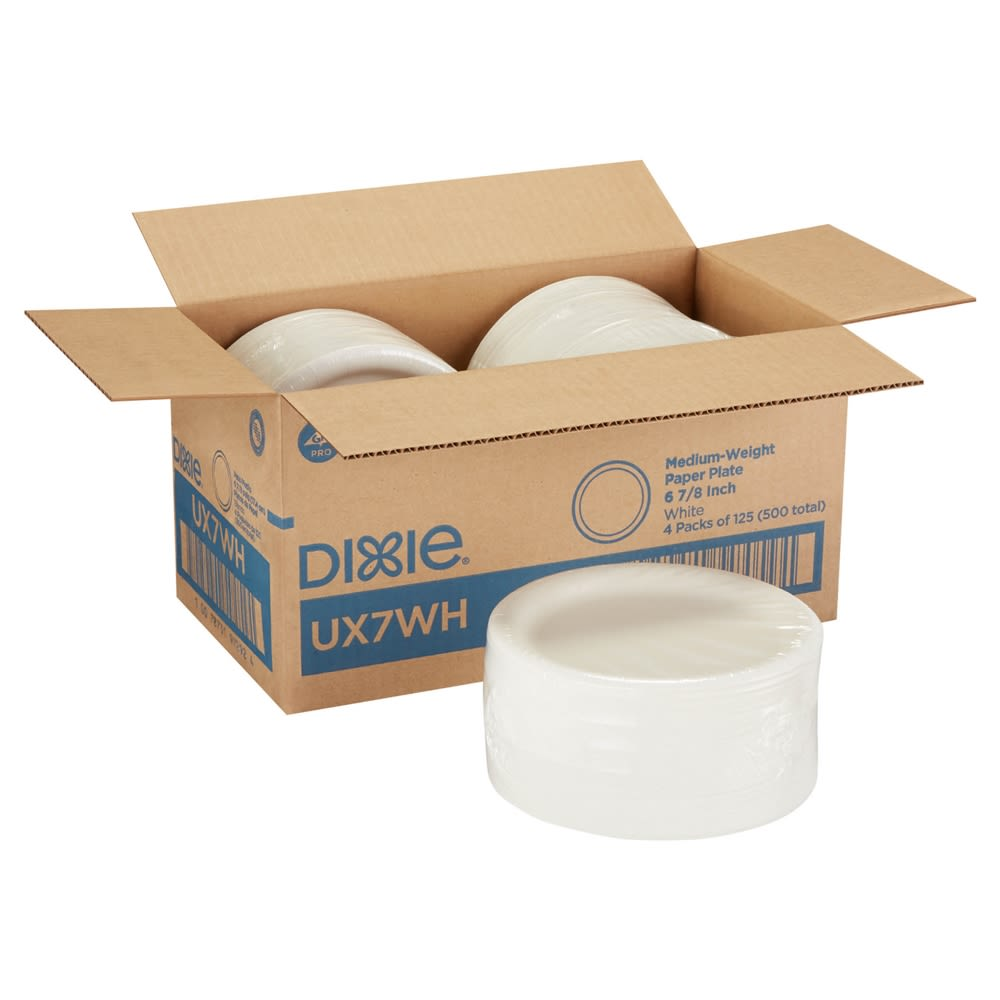 "Dixie® 7"" Medium-Weight Paper Plates by GP Pro (Georgia-pacific), White, 500 Plates Per Case"