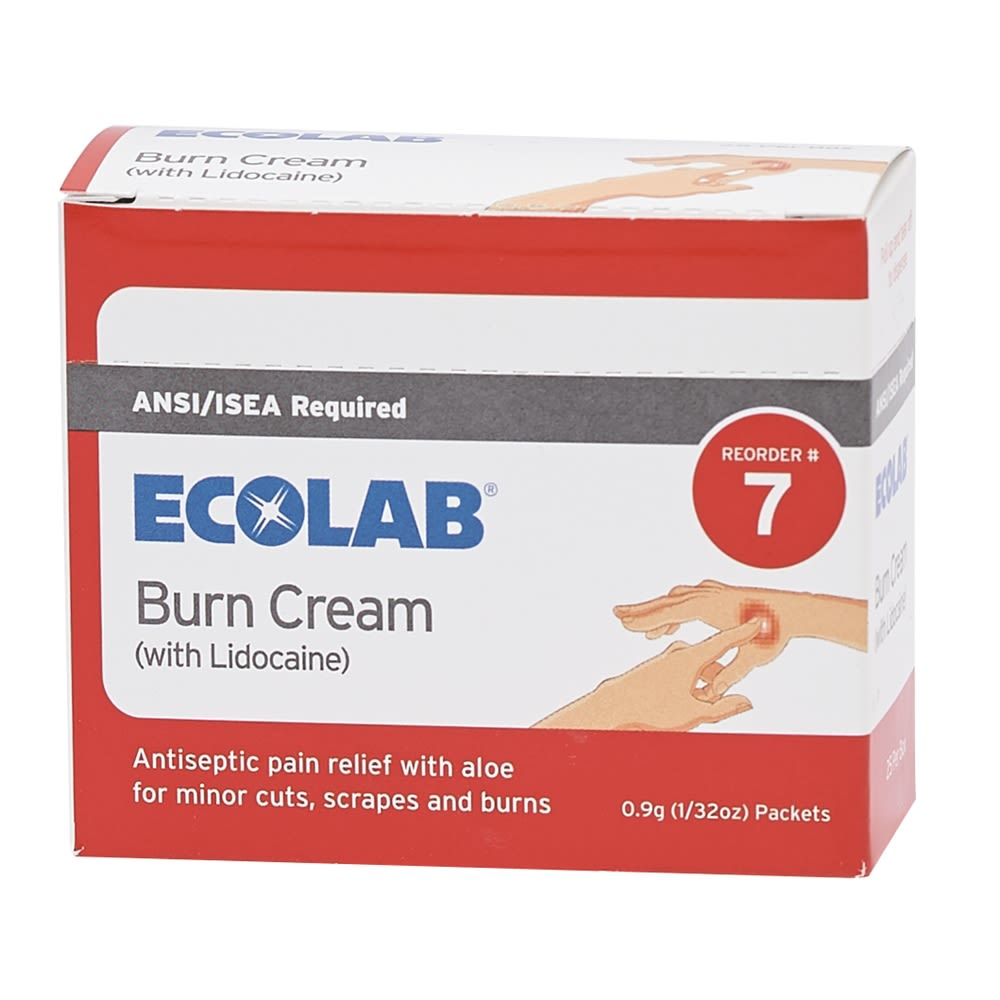 Ecolab® Burn Cream with Lidocaine, 0.9g packets, 25 Per Box, 50225-01-23 Reorder No. 7