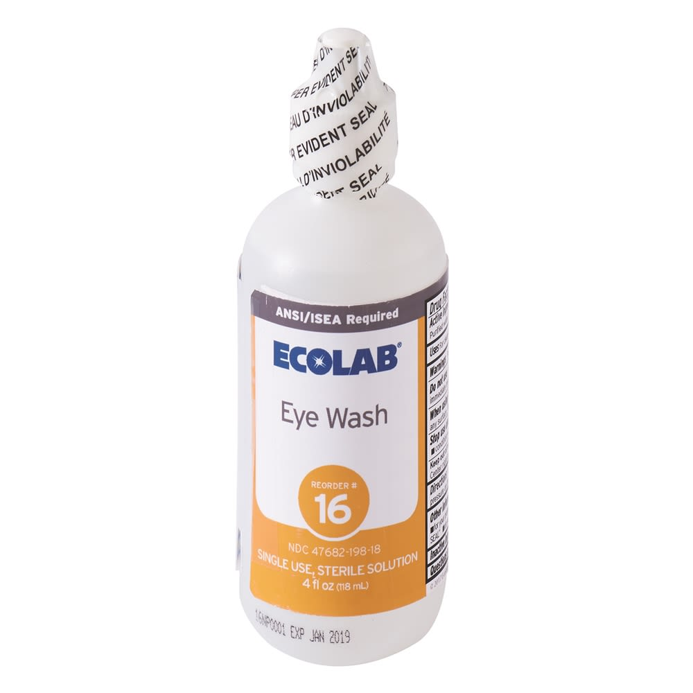 Ecolab® Eye Wash, 4 fl. Oz. 50225-01-19 Reorder No. 16