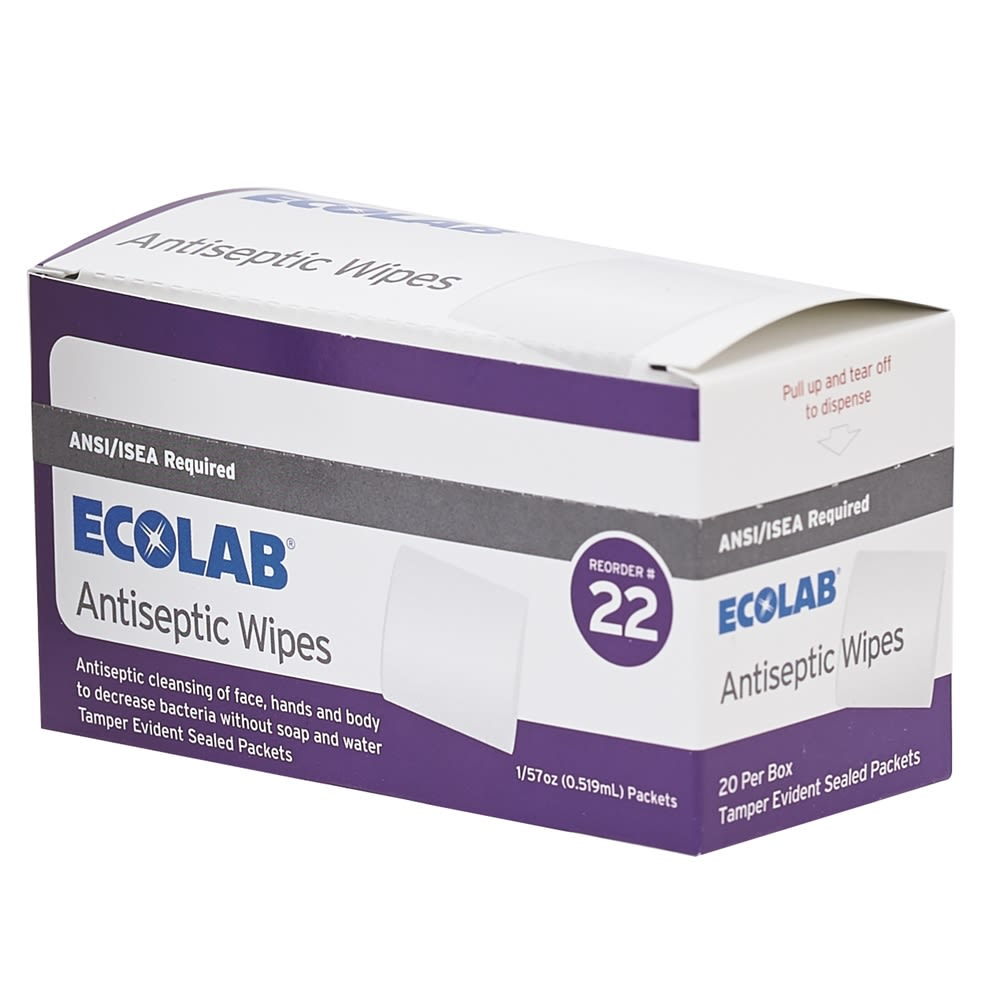 Ecolab® Antiseptic Wipes, 1/57 oz Packets, 20 Per Box 50225-01-25 Reorder No. 22