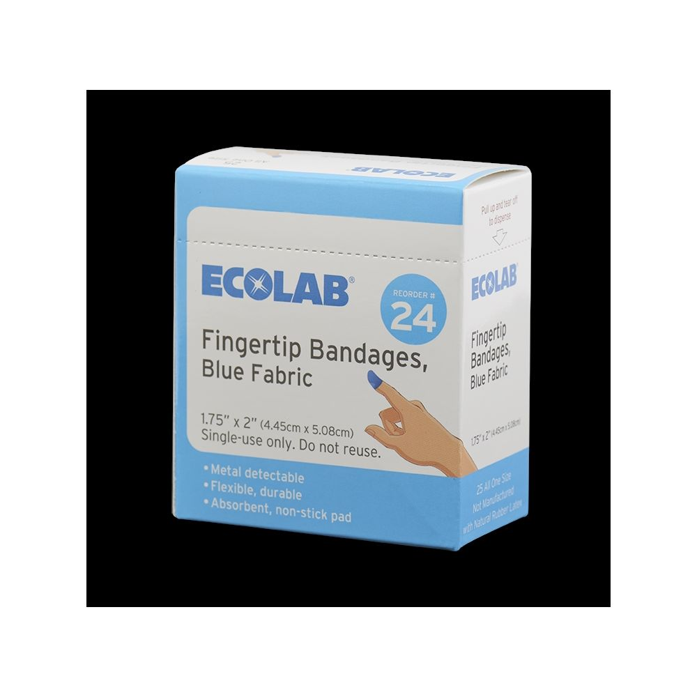 Ecolab®  Fingertip Bandages, Blue Fabric 50225-01-14, 25 Per Box, Reorder No. 24A