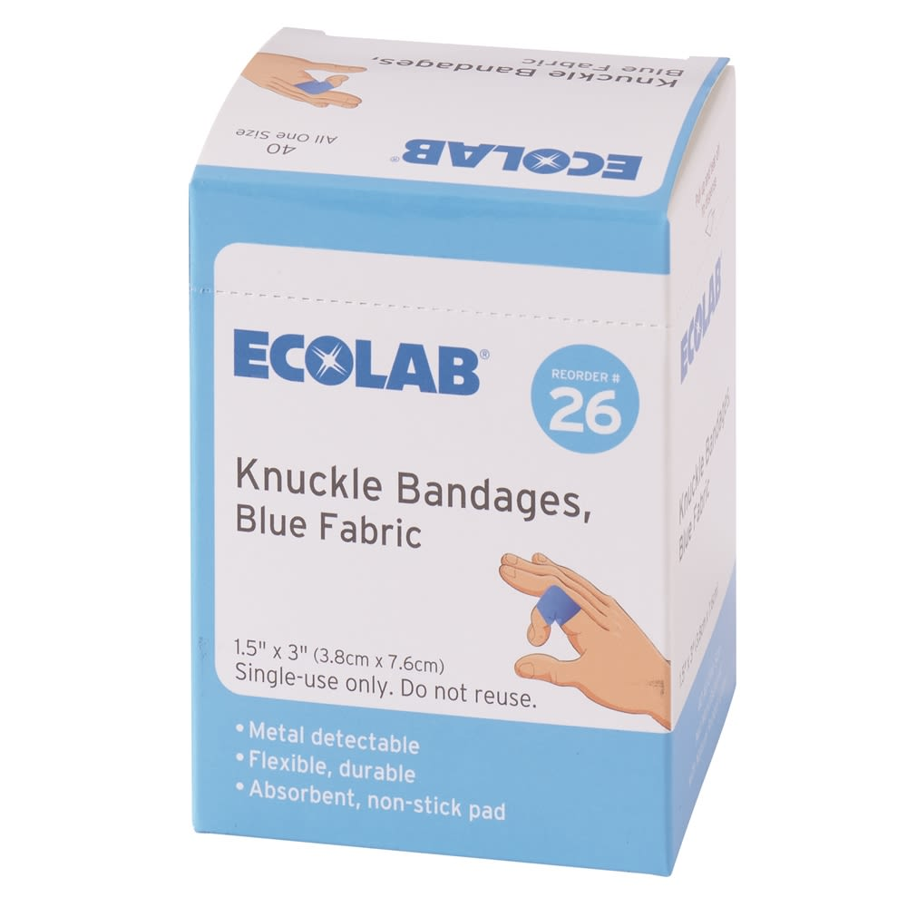 Ecolab® Knuckle Bandages, Blue Fabric 50225-01-16 Reorder No. 26