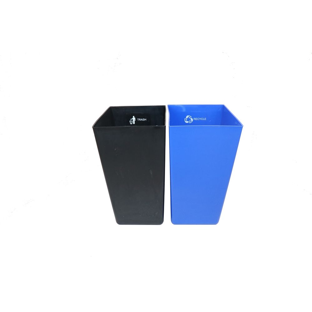 22.5 Quart Dual Chamber Wastebasket/Recycle Bin, Black (blue/black liners)