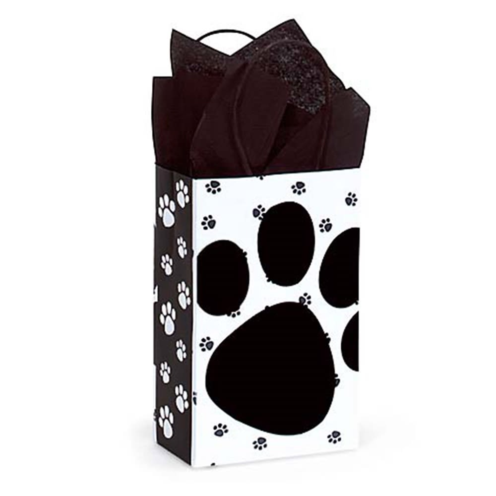 Pet Friendly Small White Paw Paper Bags