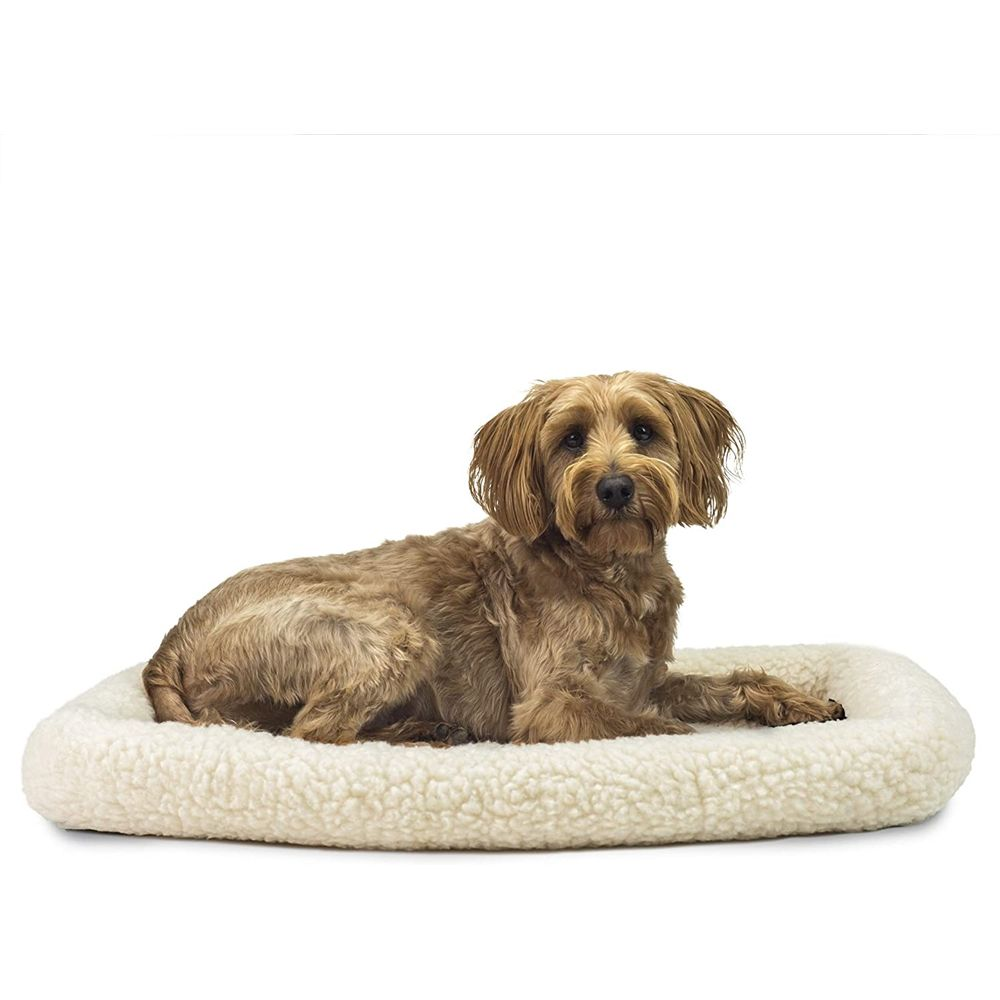 Pet Friendly 30 Inch Plush Dog Mat, Beige Bed