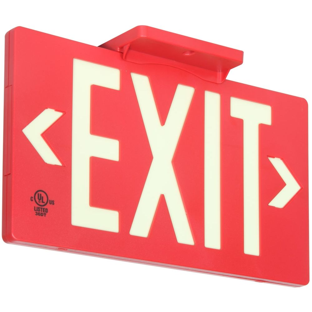 Glo Brite® Exit Sign, Single Sided, Photoluminescent, Red