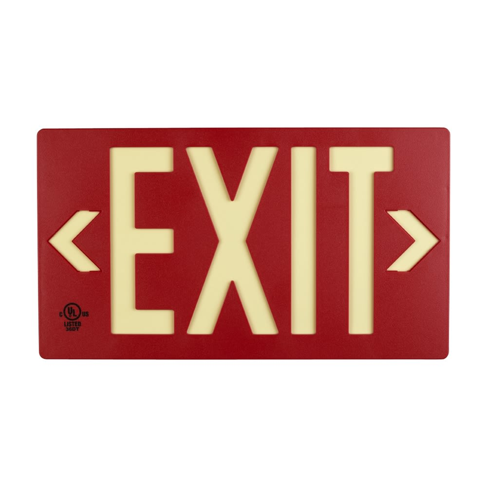 Glo Brite® Exit Sign, Double Sided, Photoluminescent, Red
