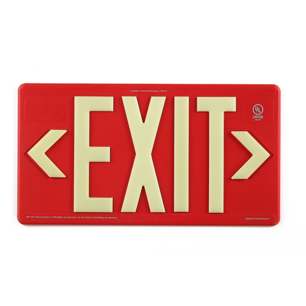 Glo Brite® Exit Sign, Single Sided, Outdoor Use, Photoluminescent, Red