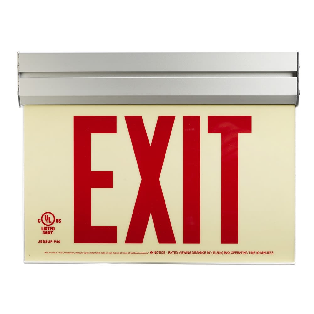 Glo Brite® Exit Sign, Double Sided, Acrylic Frame w/ Bracket, Photoluminescent, Red