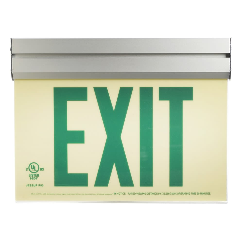 Glo Brite® Exit Sign, Single Sided, Acrylic Frame w/ Bracket, Photoluminescent, Green