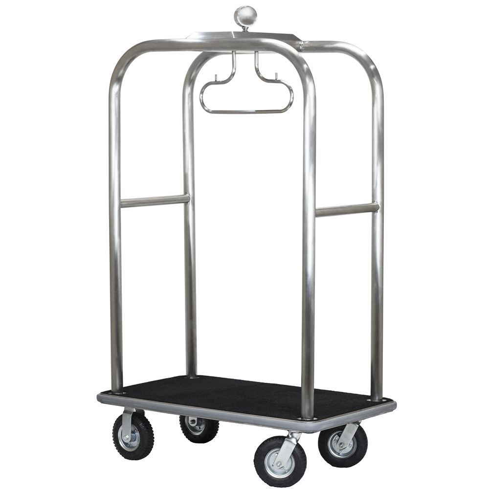 Boardwalk Series Bellman Cart, Brushed Stainless Steel, Grey Carpet, Grey Bumper