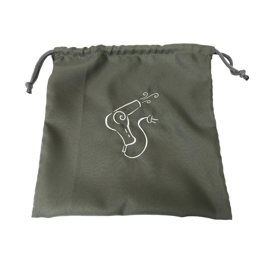 Hair Dryer Bag, Grey Bag-Silver Embroidery