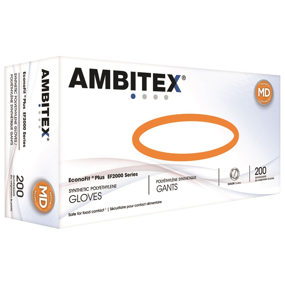 Ambitex® EconoFit Plus Synthetic Polyethylene Gloves, Medium 2000/cs
