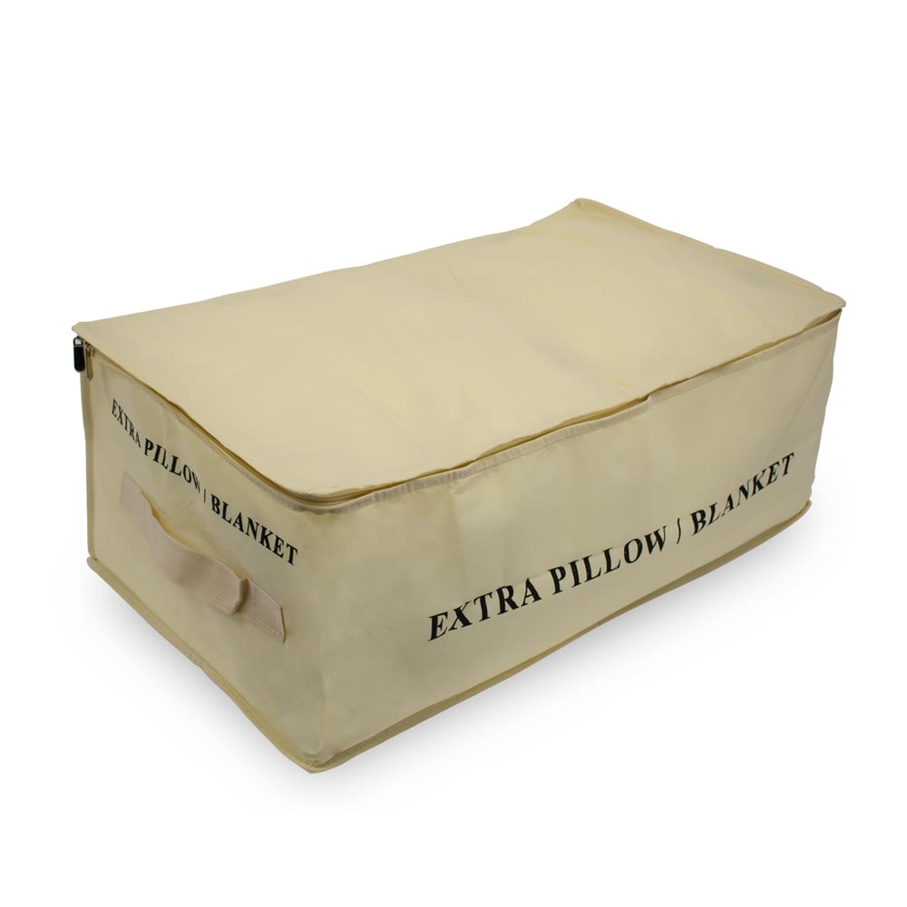 "Pillow / Blanket Storage Bag, 26.5""x15""x10.5"", Cream"