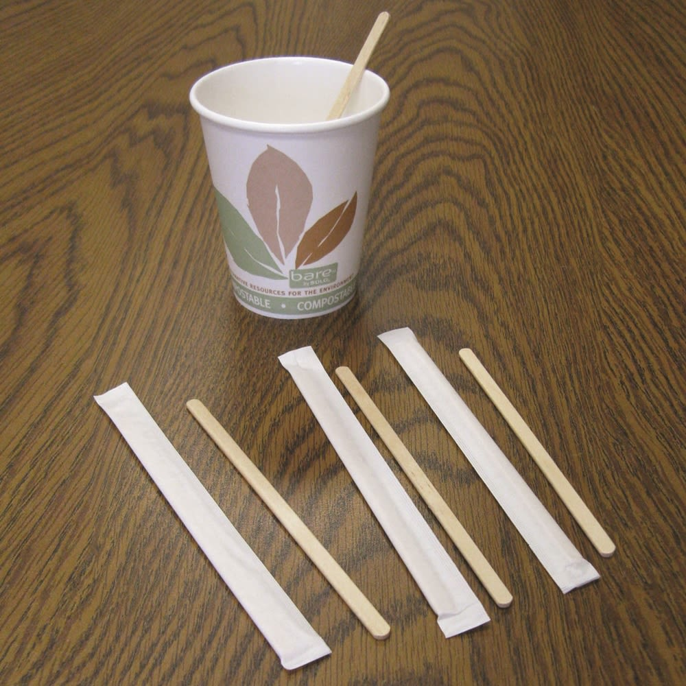 Coffee Stirrer, Wood, 5.5in, Individually Wrapped, 5000/Case