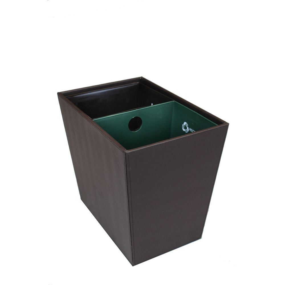 22.5 Quart Dual Chamber Wastebasket/Recycle Bin, Dark Brown