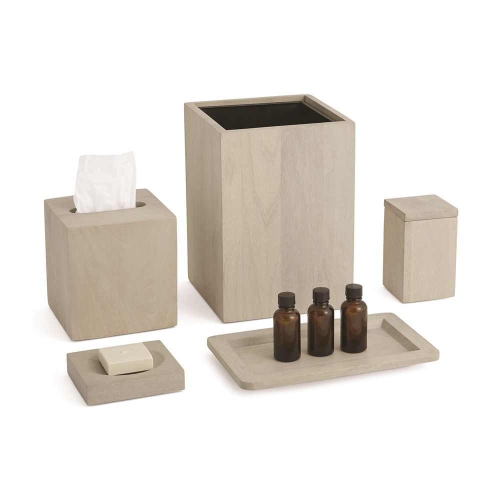 Ahala Wood Collection, Boutique Tissue Box Cover, White Wash