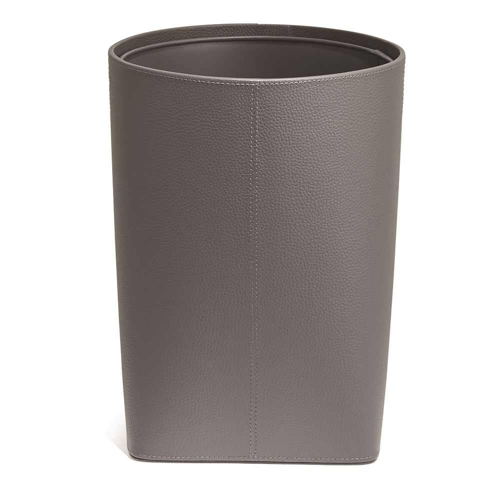 Clinton Faux Leather 12.5 Quart Wastebasket with Liner, Gray