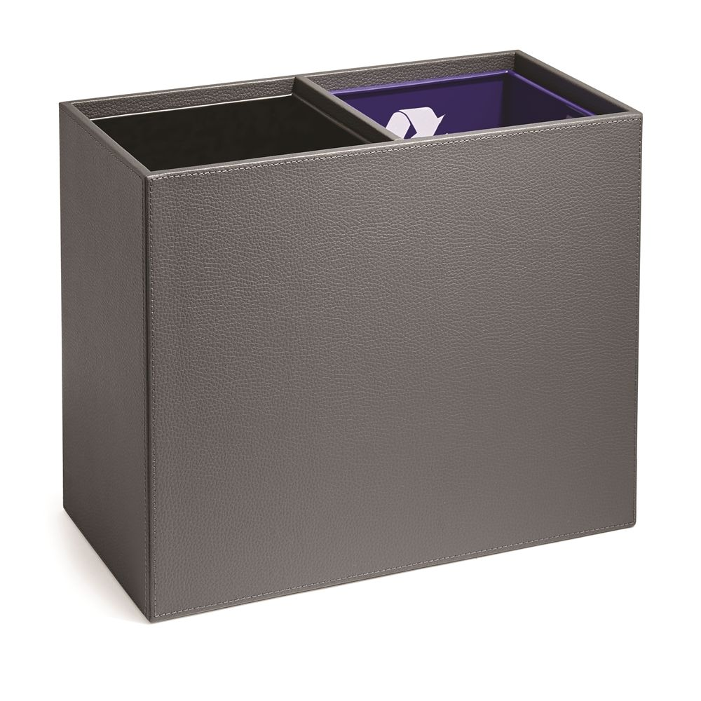 Clinton Faux Leather Dual Chamber Recycle/Wastebasket with Liners, 3 Quart, Gray