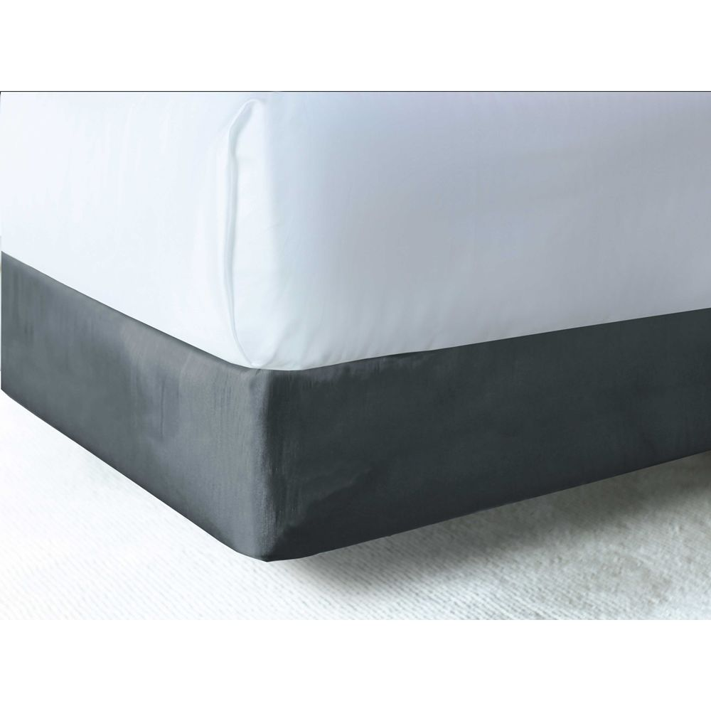 Designer Contour Box Spring Wrap, Polyester Shantung, Fits King 76x80x9, Charcoal Grey