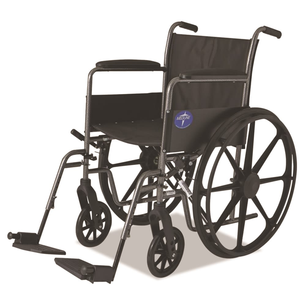 Medline K1 Basic Wheelchair, Detachable Footrests Included