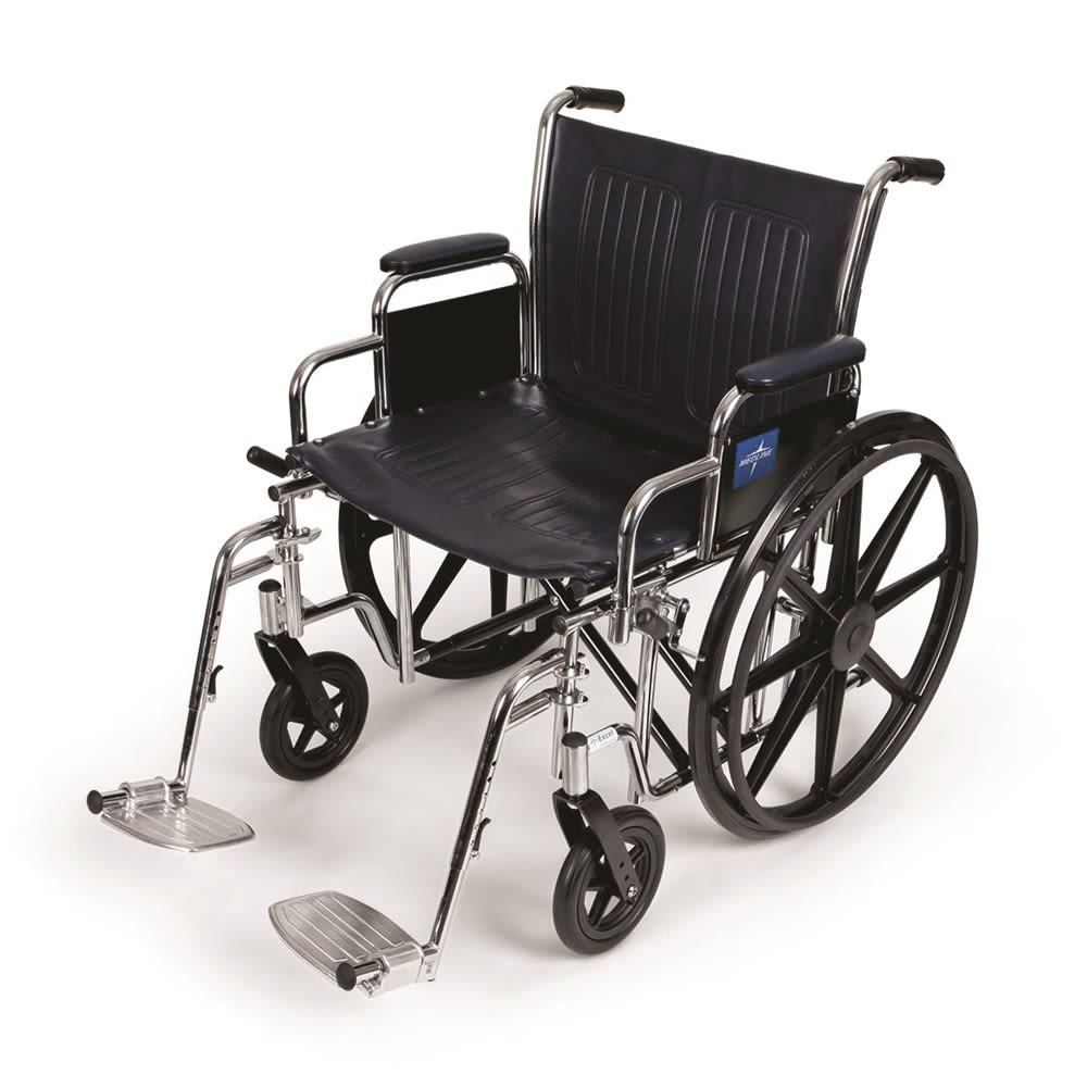 Medline Extra-Wide Wheelchair, Detachable Footrests Included
