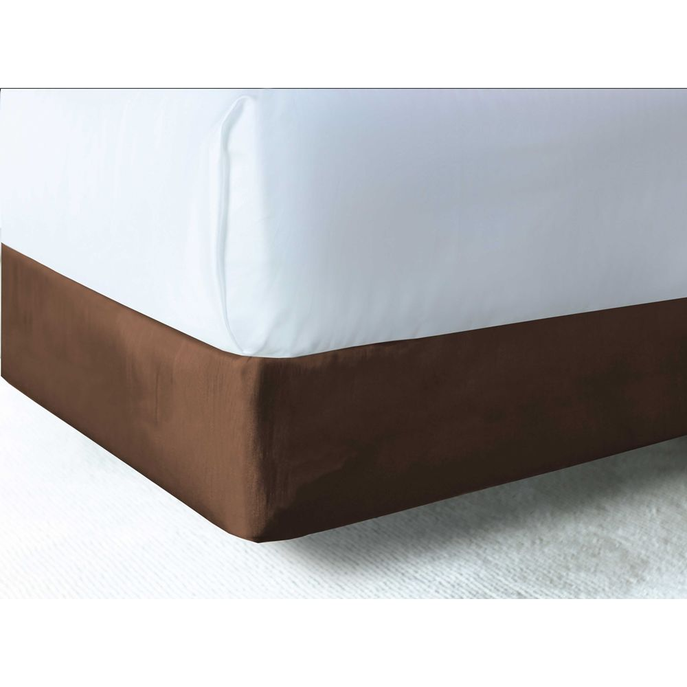Designer Contour Box Spring Wrap, Polyester Shantung, Fits Hotel King 72x80x7, Espresso Brown