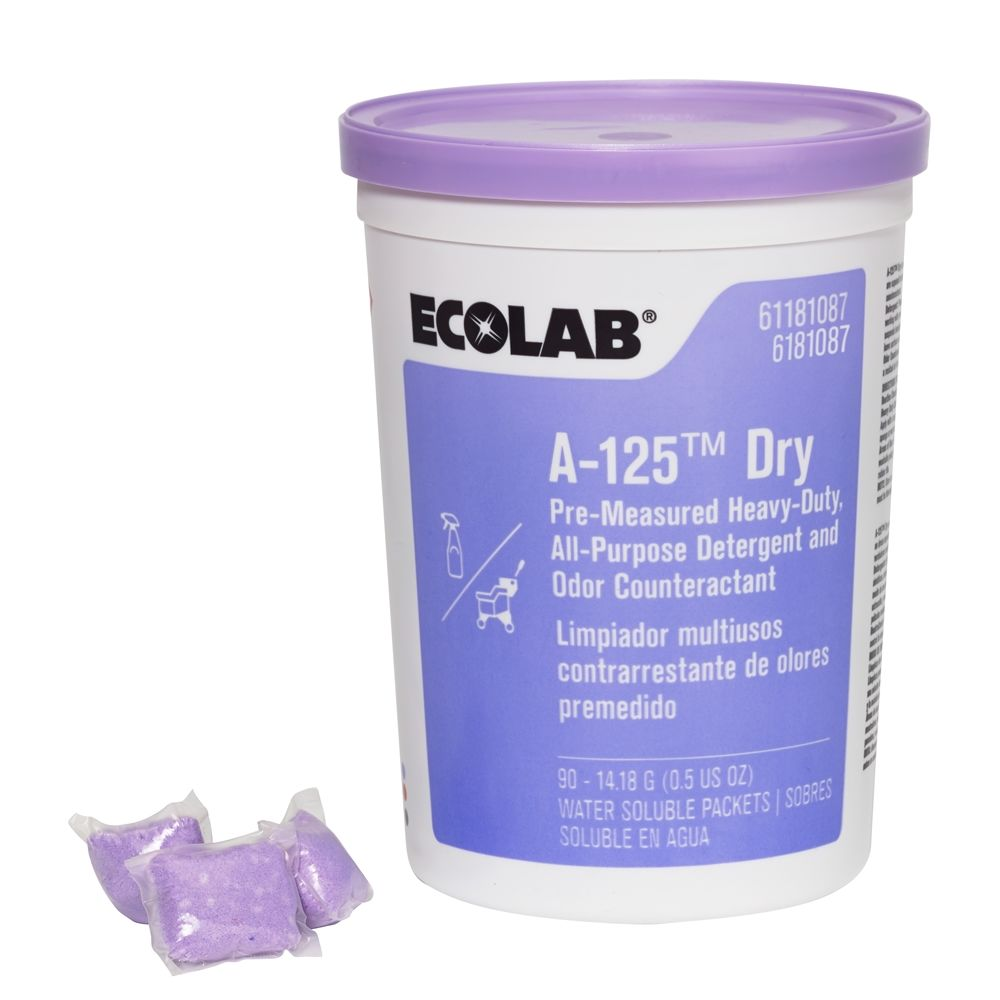 Ecolab® A-125 Dry, Pre-Measured Heavy-Duty All-Purpose Detergent and Odor Counteractant, #6181087