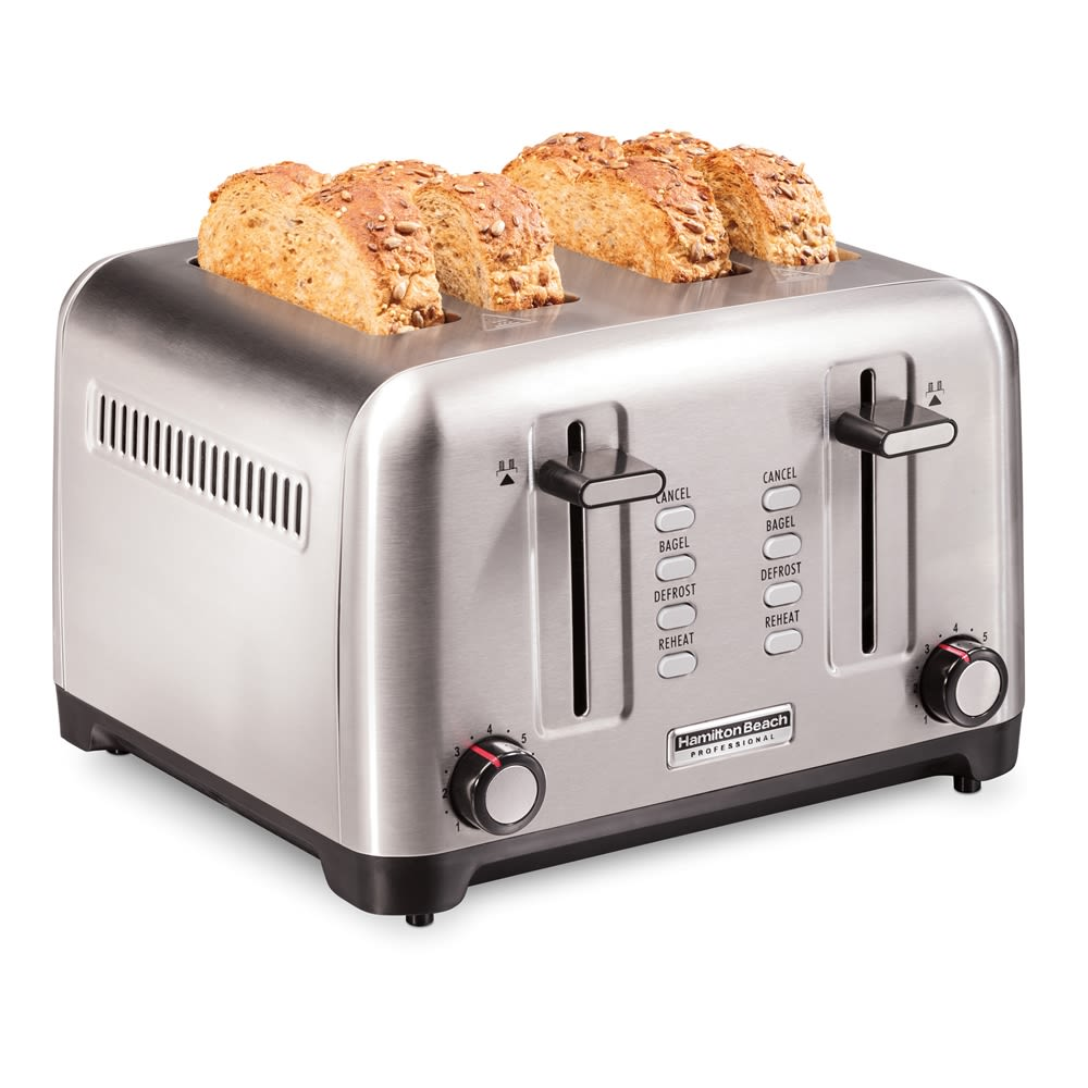 Hamilton Beach 24990 Professional 4 Slice Toaster, with Bagel, Defrost & Reheat Settings, Stainless