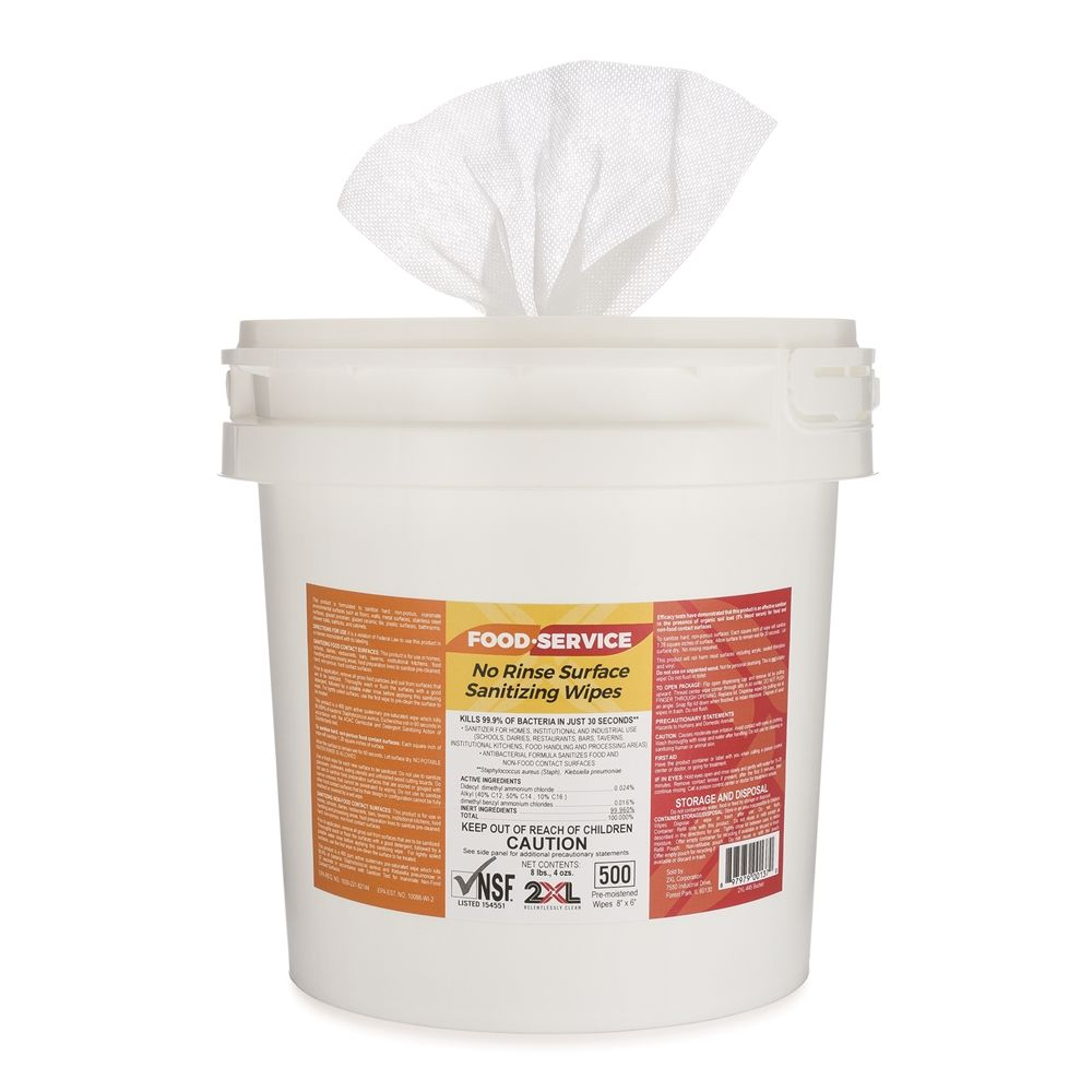 2XL-445 No Rinse Food Service Sanitizing Wipes, 500ct