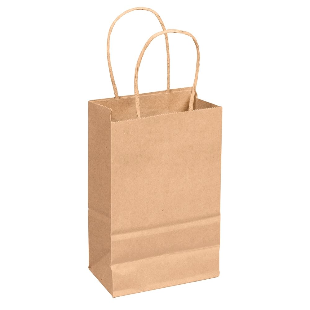 "Brown Paper Bag with Twist-Tie Handles, Kraft,  5.25""L x 3.25""W x  8.4""H"