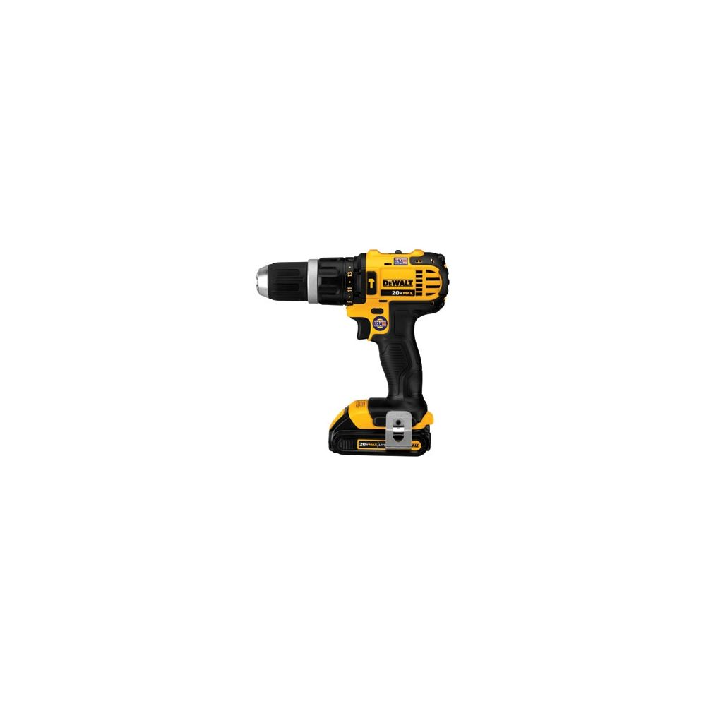 DEWALT Cordless 20V 1/2 in Hammer Drill Kit, Yellow/Black