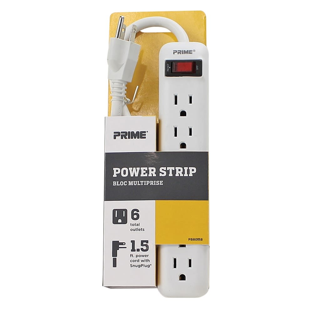 Prime Wire and Cable Metal Power Strip with Metal 1-1/2 ft. Cord in White and Grey