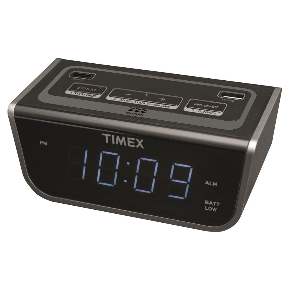 Timex T262B Bedside LED Alarm Clock with Dual USB Charging