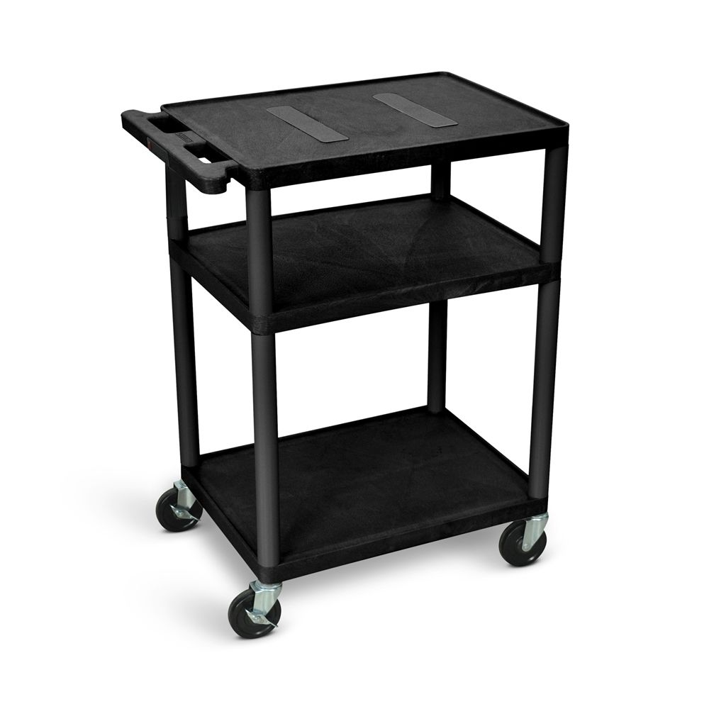 Audio Visual Cart Open Shelf, Black