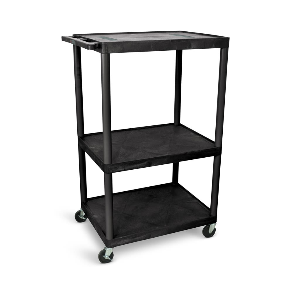 "Luxor® Audio Visual Cart, Open Shelf, 32""W x 24""D x 54.25""H, Black"
