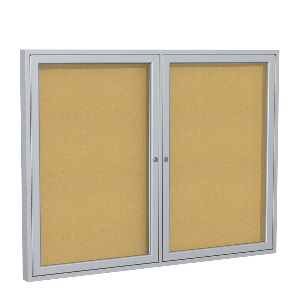 "Bulletin Board, Natural Cork with Hinged Doors, 48""W x 36""L"