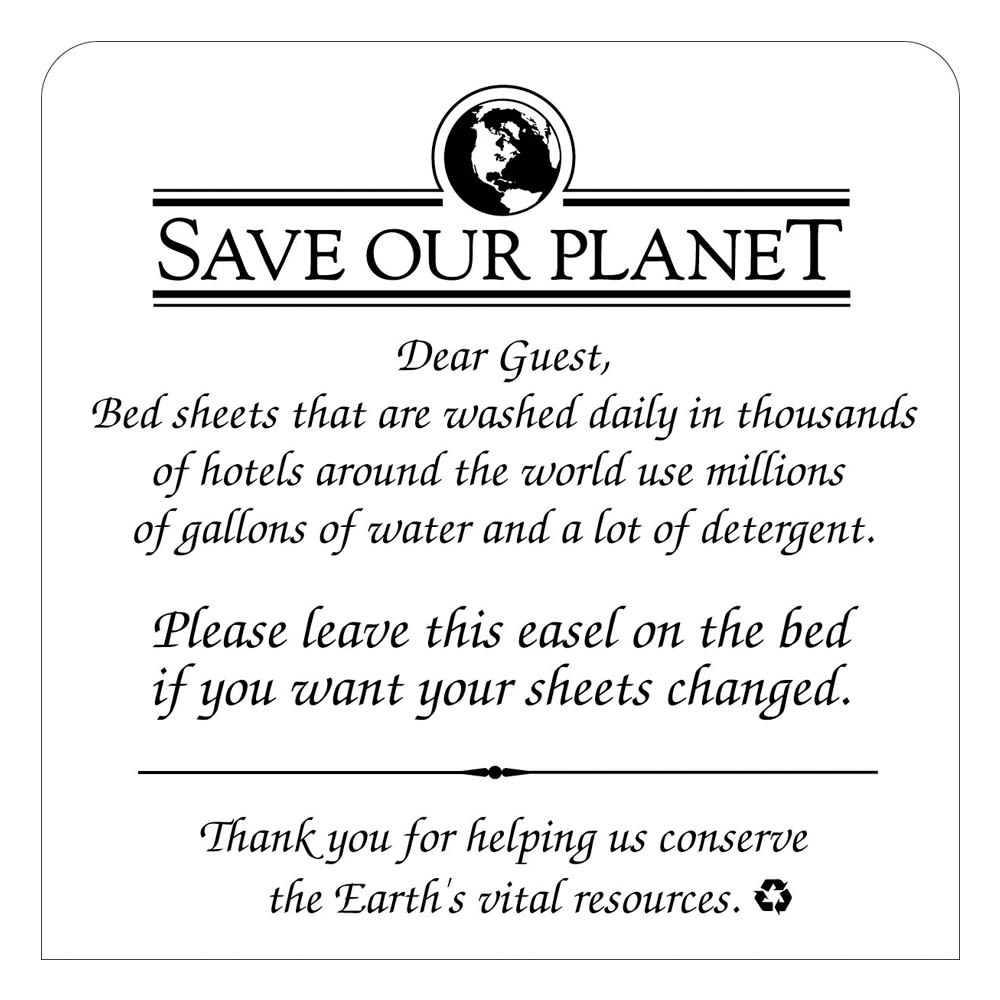 ''Save Our Planet - Change Sheets'' Conservation Easel