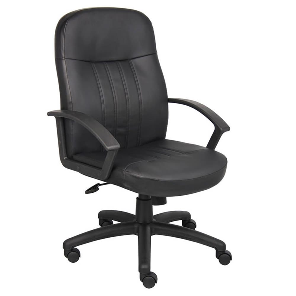 Boss Executive Leather Budget Chair, Black