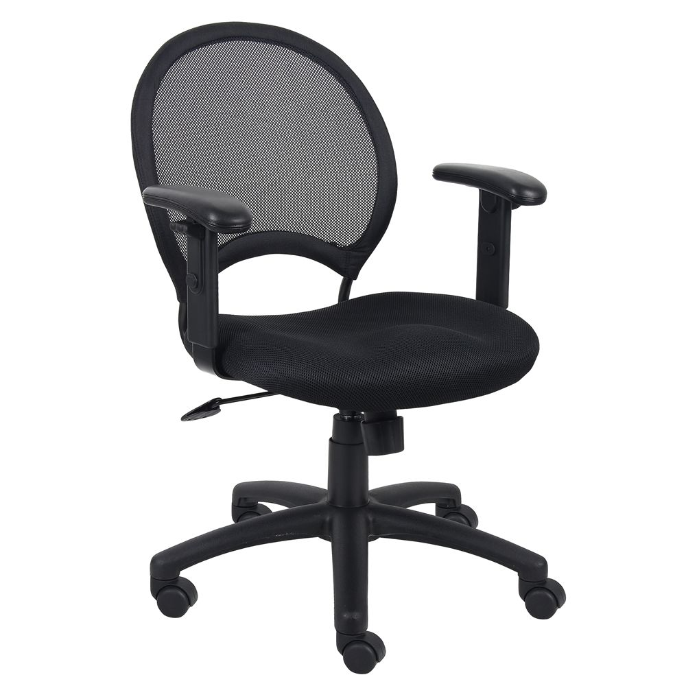 Boss Mesh Chair With Adjustable Arms, Black