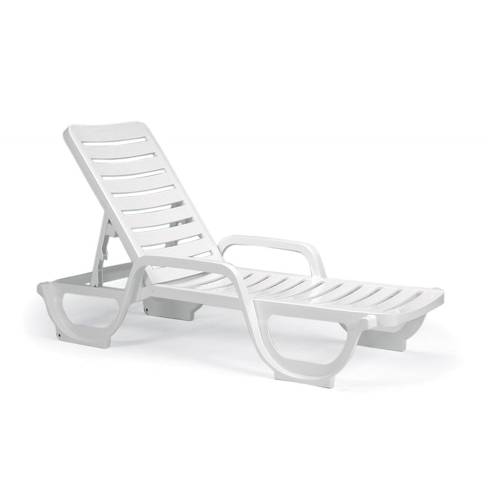 Grosfillex® Bahia Adjustable Chaise, White