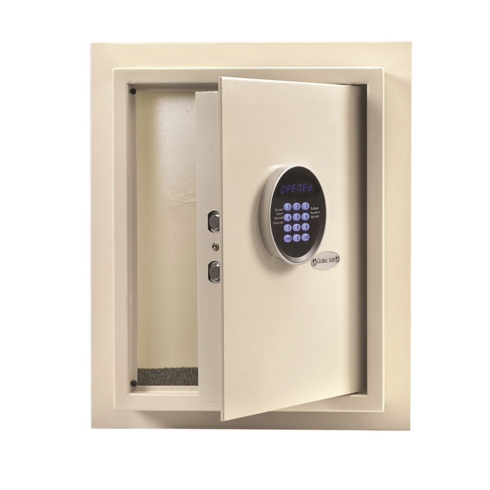 Global Electronic Digital Wall Safe Plus, Recessed, 14.25Wx18Hx6.5D, Off-White