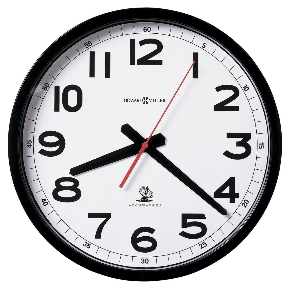 Howard Miller® Accuwave II Wall Clock, White Dial with Black Arabic Numerals, Black Case