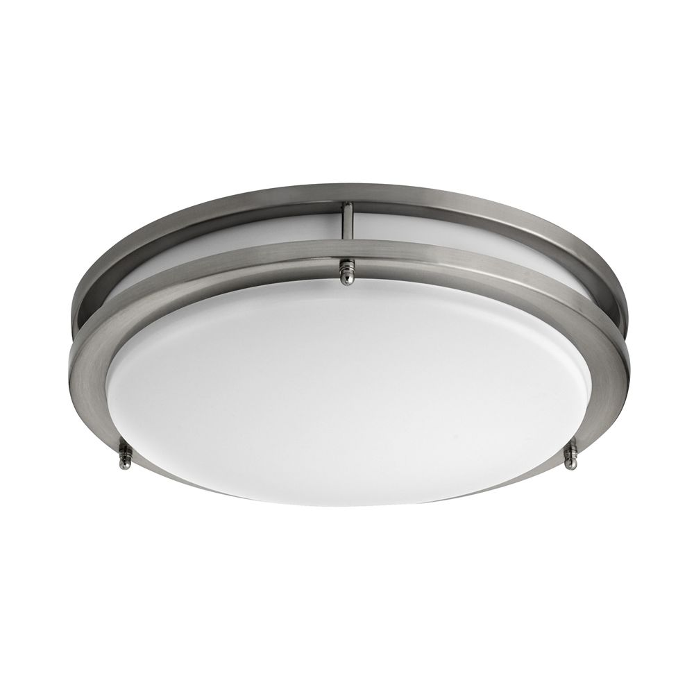 Ceiling Fixture 14in, Flush Mount, Brushed Steel, Frosted Acrylic Shade Diffuser