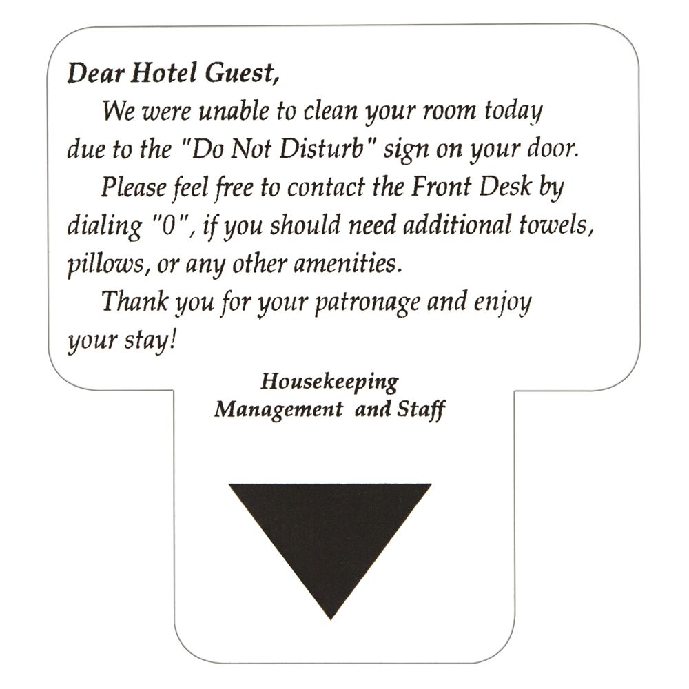 Sign - Dear Hotel Guest/Room Not Cleaned Today, White/Black Print