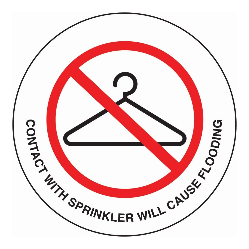 Sign - Do Not Hang Items On Sprinkle, Clear/Black & Red Print