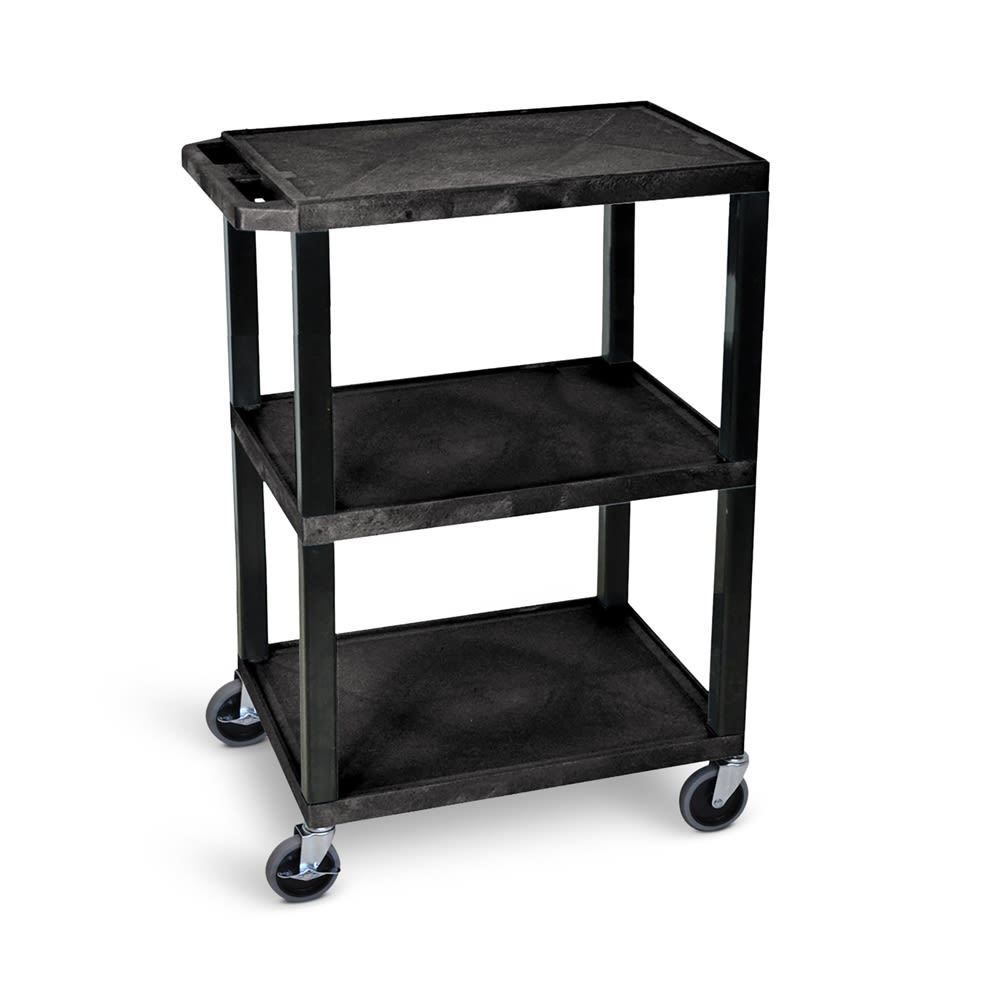 Luxor® Utility Cart, 3 Shelves, 4in Casters, 18Dx24Wx34H, Black