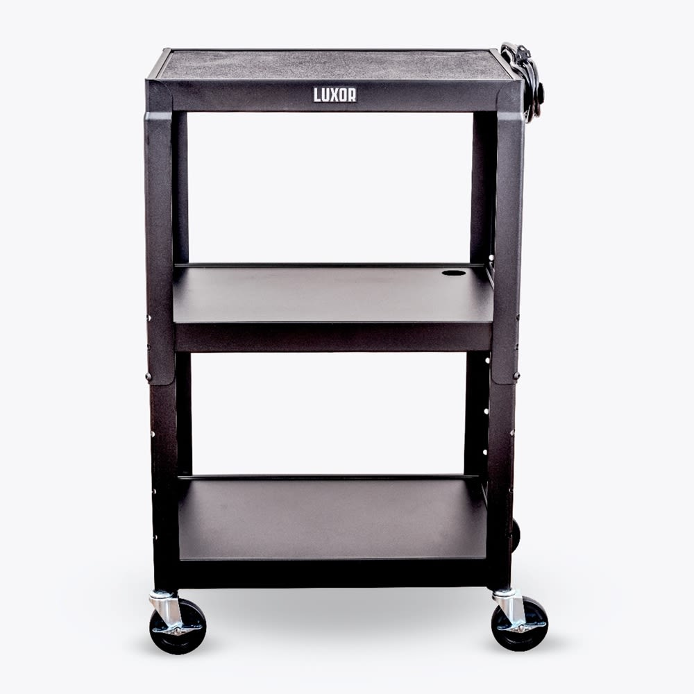 Luxor® Metal Cart with Adjustable Height, 24Wx18Dx42H, Black