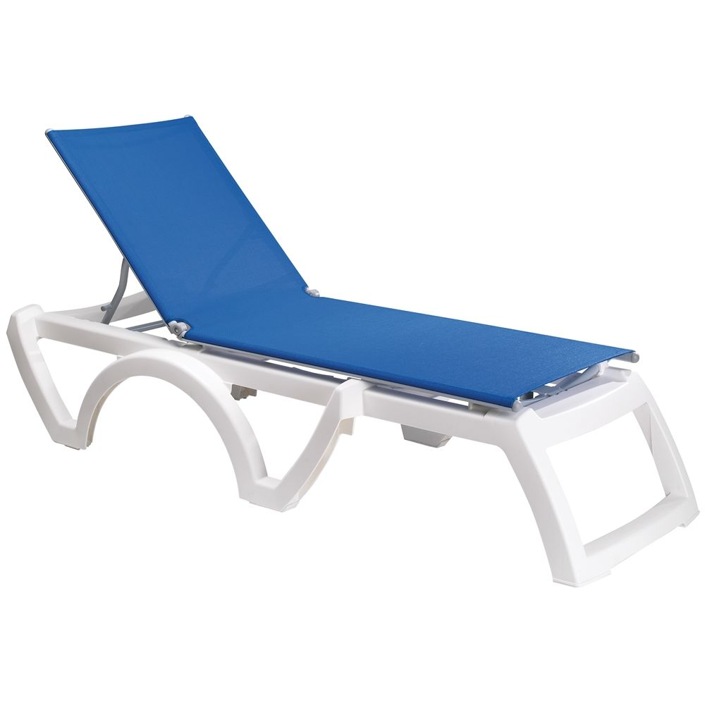 Grosfillex® Calypso Adjustable Sling Chaise, Blue Sling with White Frame (Min Qty 2)