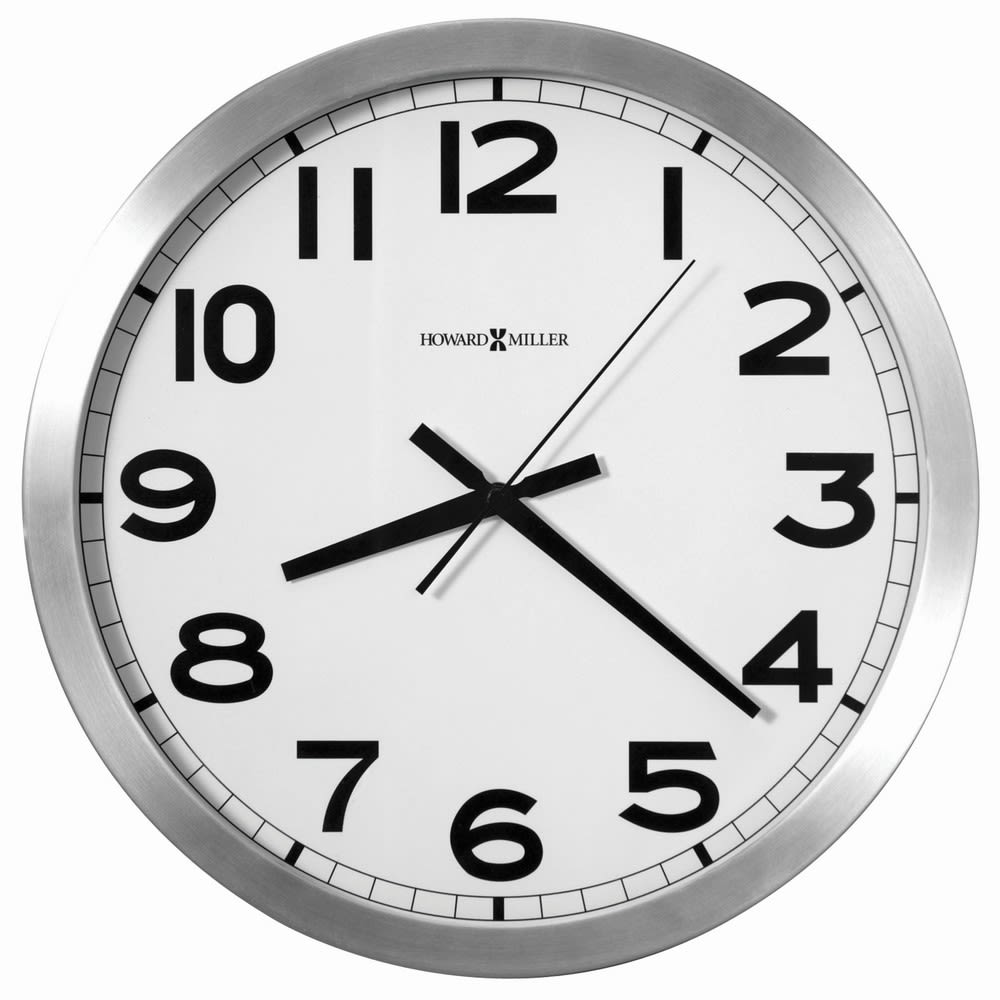 Howard Miller® Spokane Wall Clock, 15-3/4in Round Brushed Aluminum / White Dial